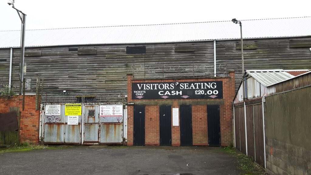 Visitors entrance at the back of the Main Stand at Blundell Park