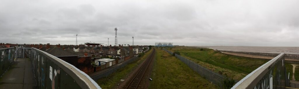 Panormic of Blundell Park and the Humber from the nearby Railway Bridge