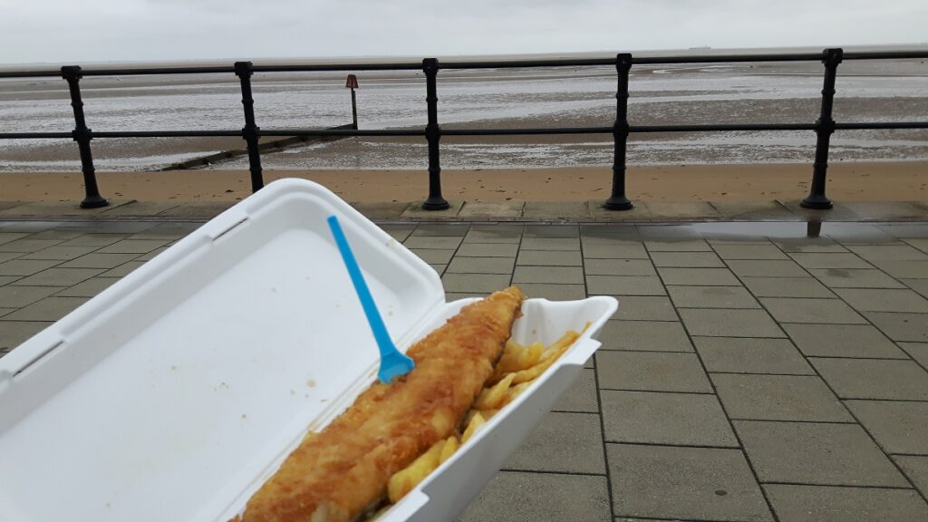 Fish and Chips from Ocean Fish Bar on Cleethorpes Seafront