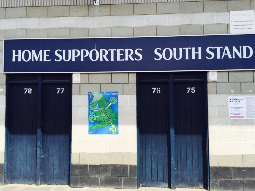 tottenham's white hart lane adorned with a stadium hoppers map