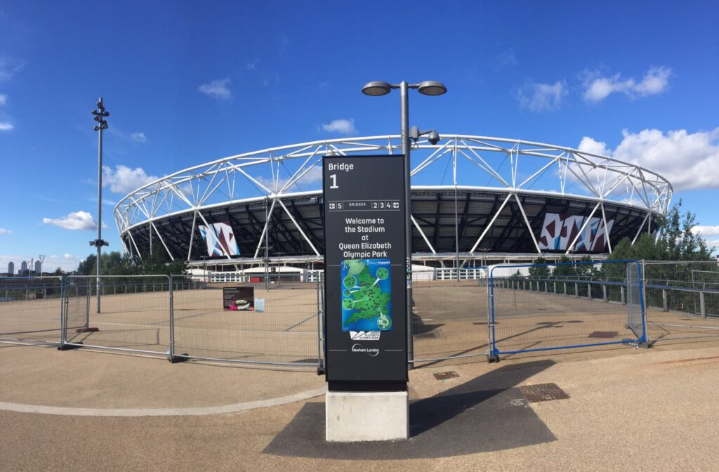 West Ham London Stadium with a stadium hoppers map