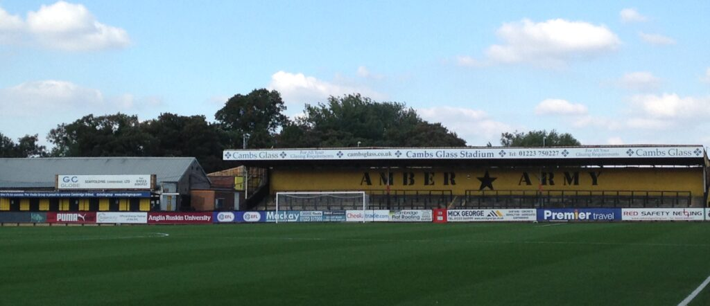 Amber Army, home terrace at the Abbey Stadium, Cambridge United