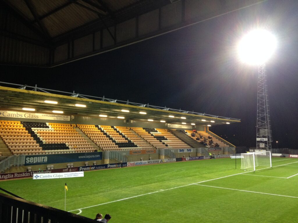 Away end at the Abbey Stadium home of Cambridge United