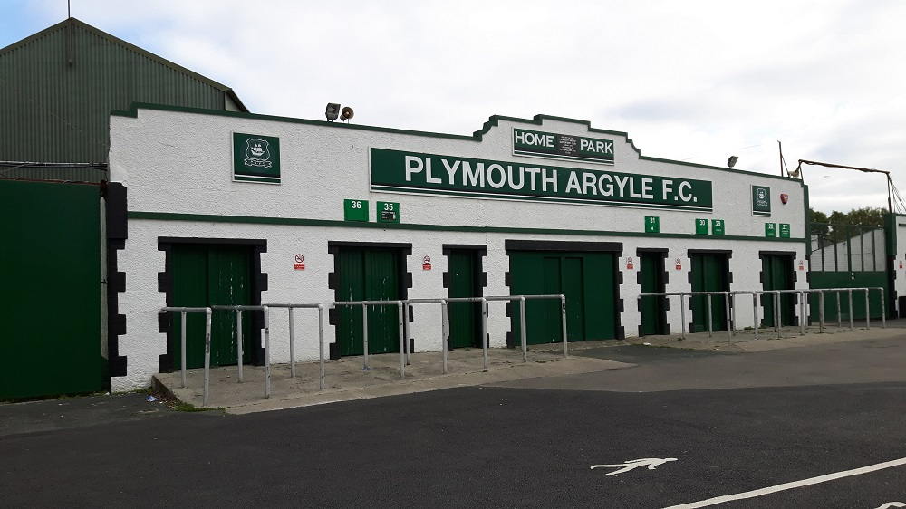 The iconic turnstiles for the Grandstand at Home Park