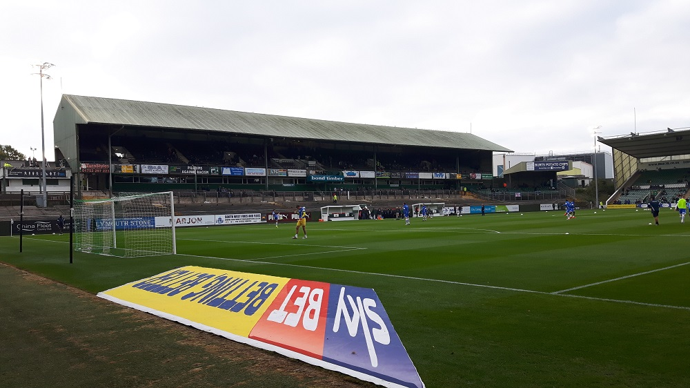 The Grandstand At Home Park Stadium Of Plymouth Argyle