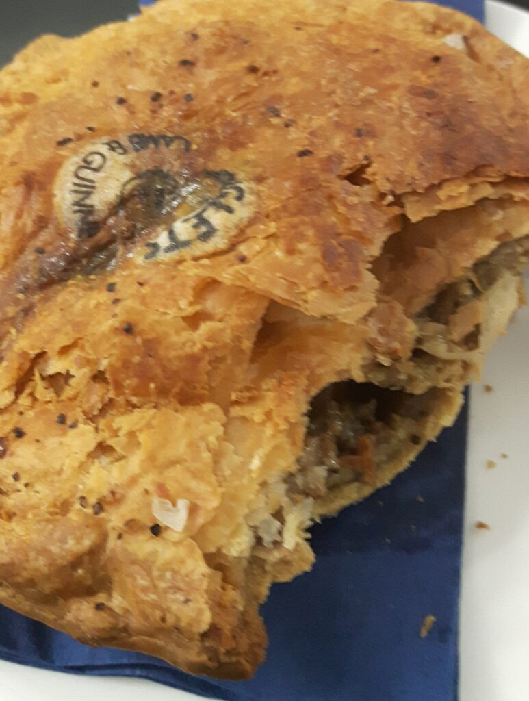 Lamb and Guinness pie at the Amex Stadium