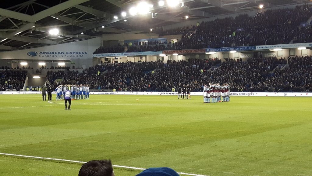 minutes silence at the Amex Stadium Brighton to remember the fallen