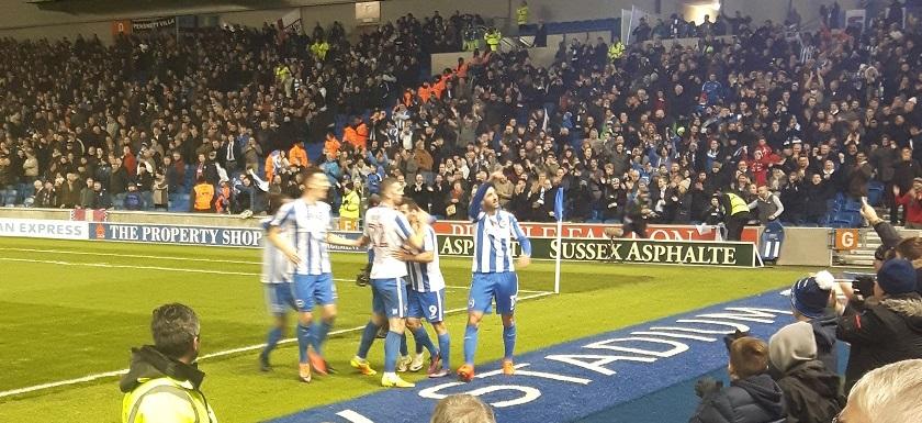 Glenn Murray celebrates scoring the equaliser for Brighton v Aston Villa at the Amex Stadium