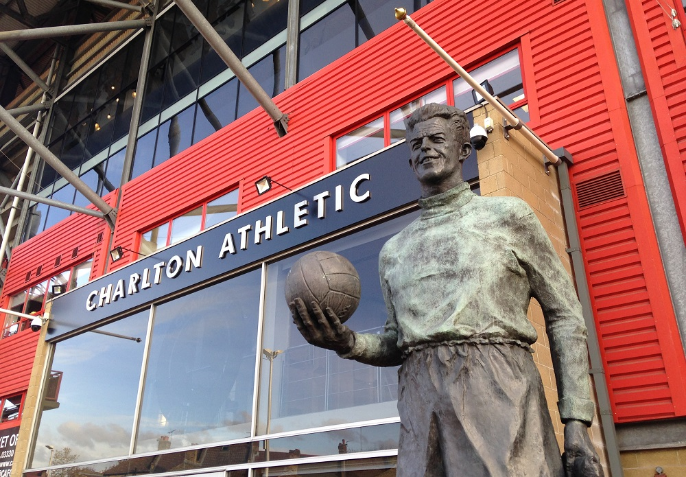 Sam Bartram statue outside the West Stand at the Valley Charlton