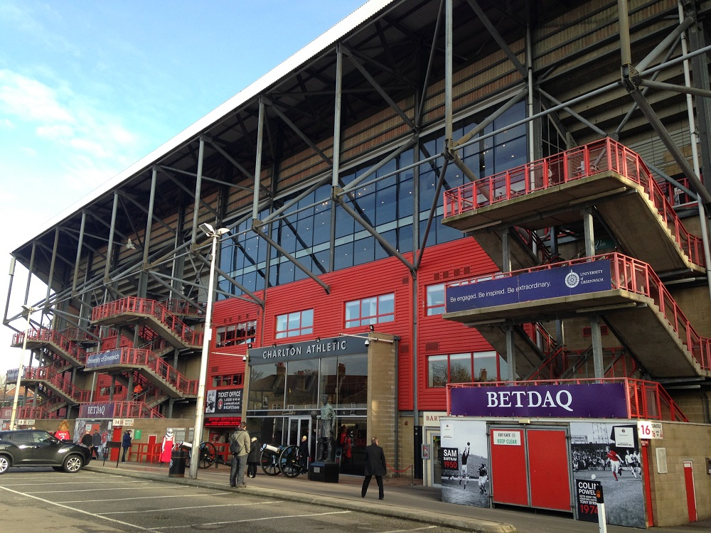 Outside the main stand at the Valley
