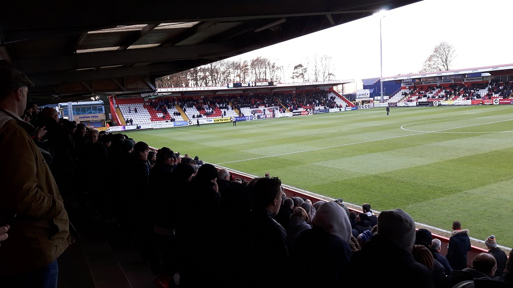 Looking from the East Terrace towards the South Stand (away end) at the Lamex Stadium