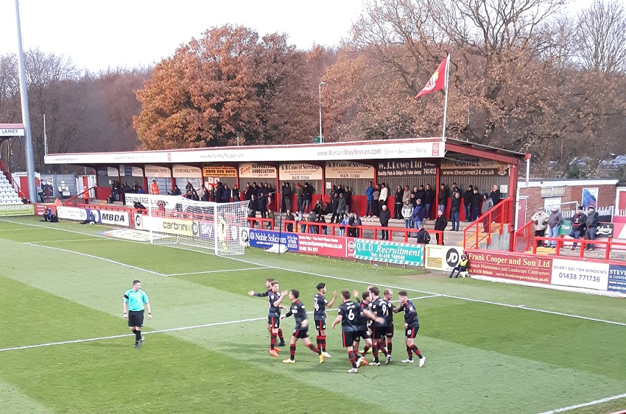 Doncaster rovers celebrate scoring at the lamex stadium v stevenage in league 2