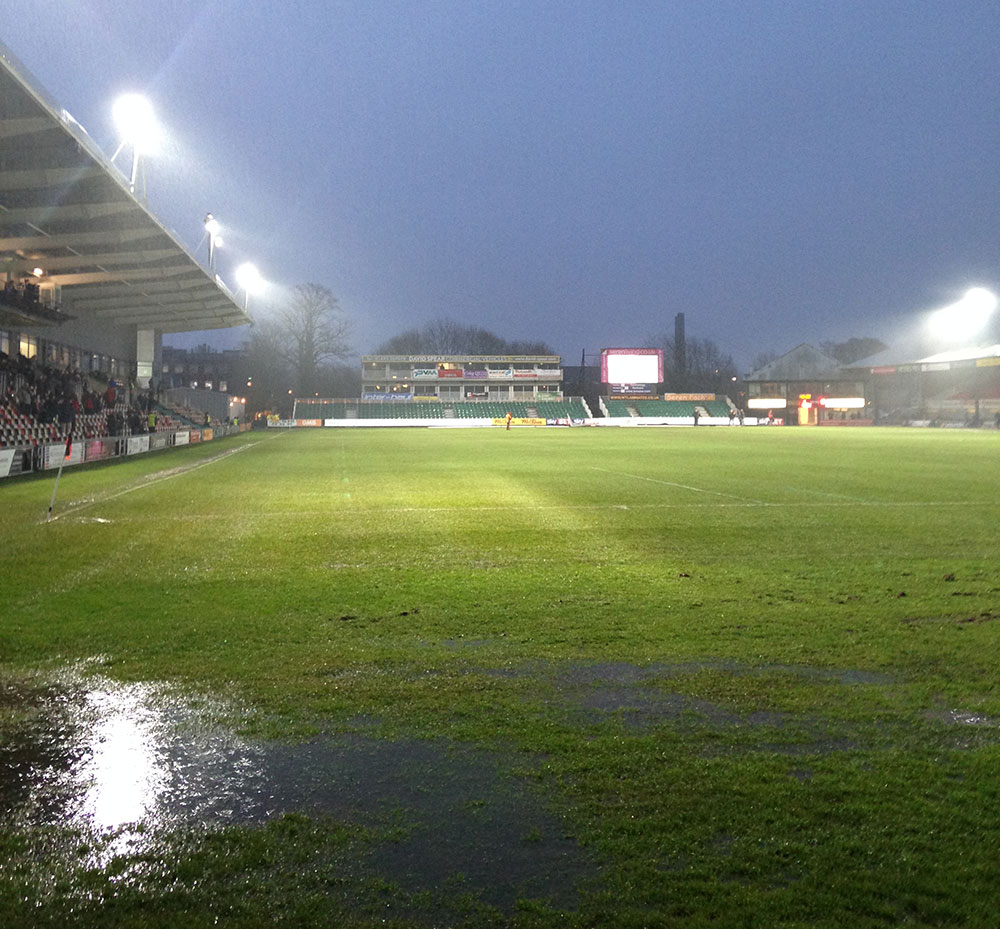 Waterlogged pitch at Rodney Parade Newport