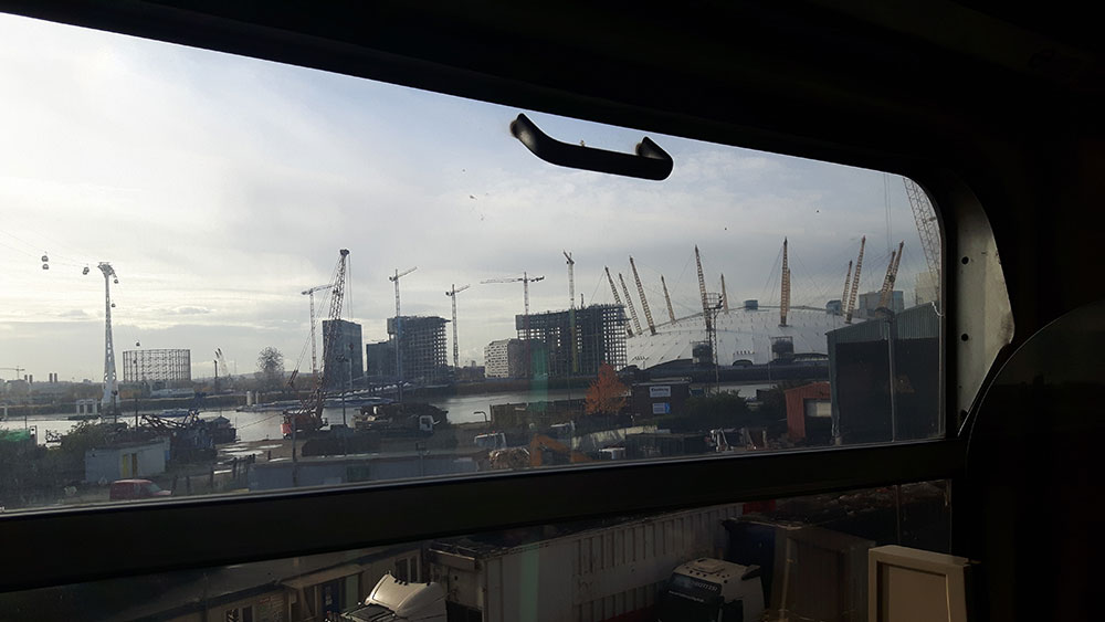 The O2 arena from the London DLR approaching Stratford