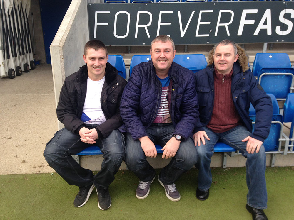 Colin and friends get the customary dugout shot at the Proact Stadium