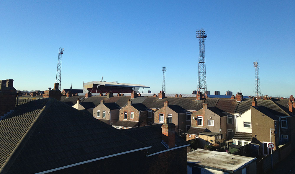 Blundell Park from the railway bridge