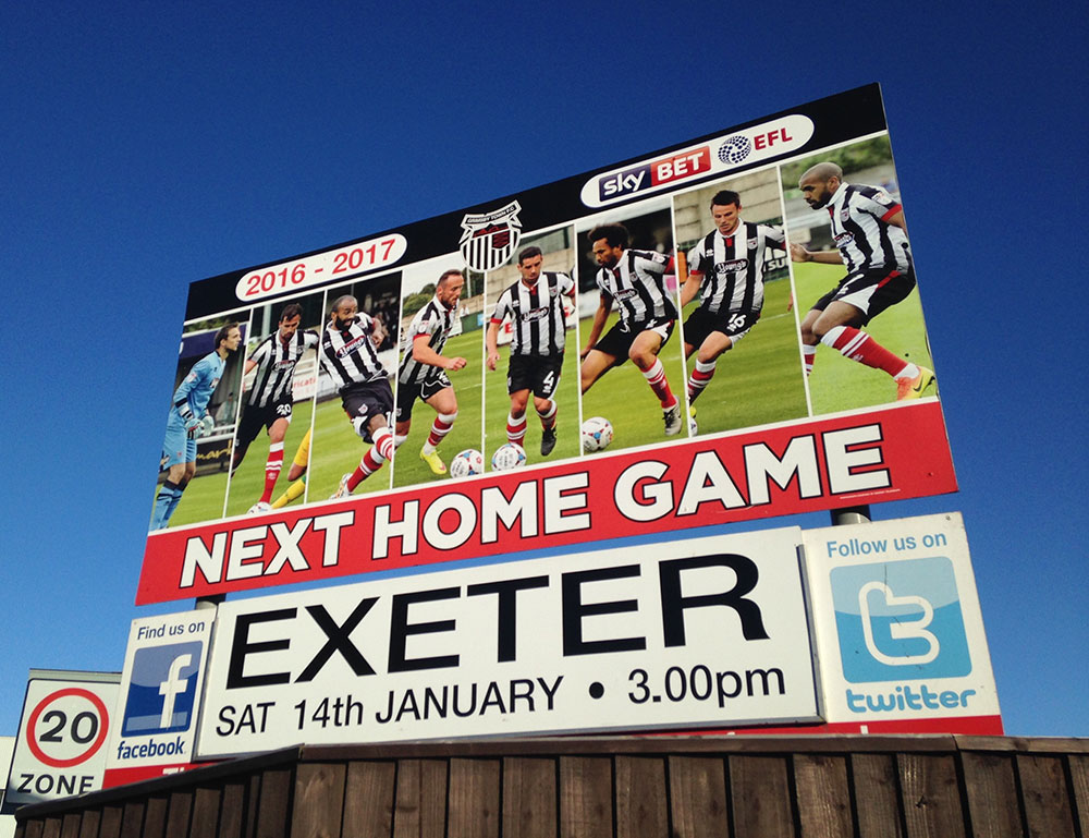 Sign at Blundell Park, next home game Grimsby Town v Exeter City
