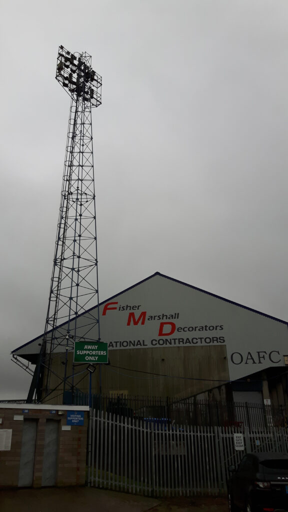 Floodlight at Boundary Park by the Chaddy End