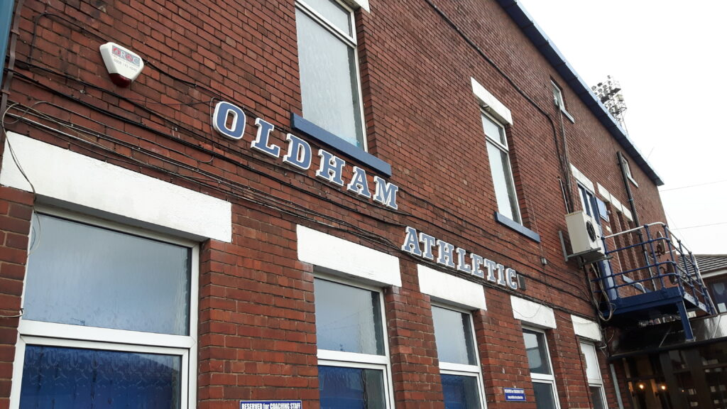 Back of the Main Stand at Boundary Park the home of Oldham Athletic