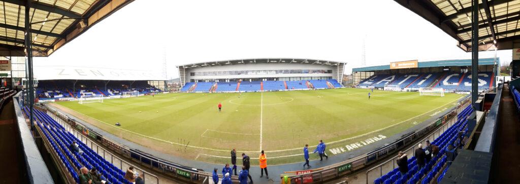 Panoramic photo of the SportsDirect.com stadium taken from the Main Stand