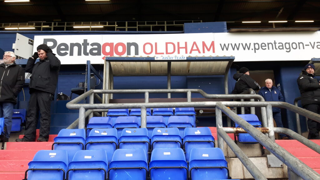 The away dugout in the Main Stand at Boundary Park