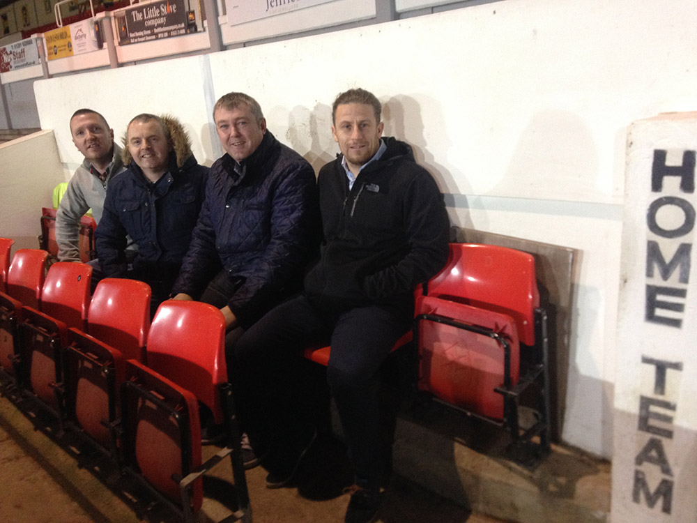 In the dugout at Rodney Parade, Newport