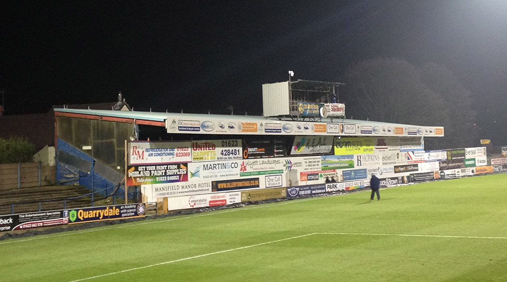 The condemned Bishop Street stand at Field Mill (One Call Stadium) Mansfield