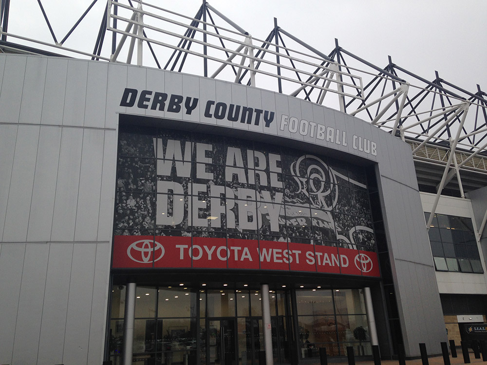 Main entrance at Pride Park the home of Derby County