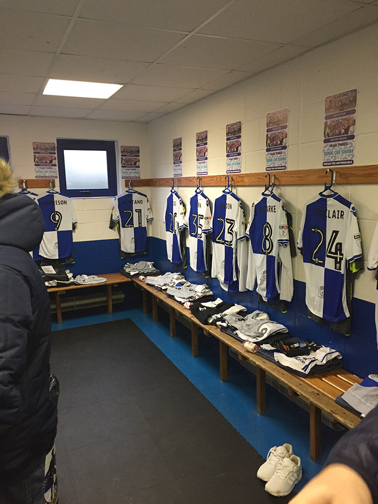 In the dressing room at Bristol Rovers