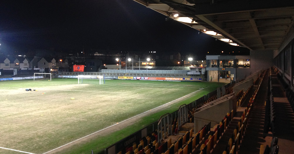 The beach pitch at Rodney Parade the home of Newport County