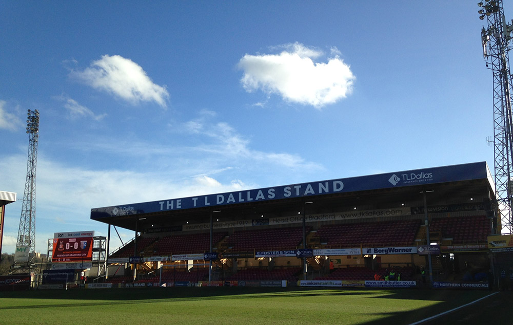 The T L Dallas Stand at Valley Parade the home of Bradford City