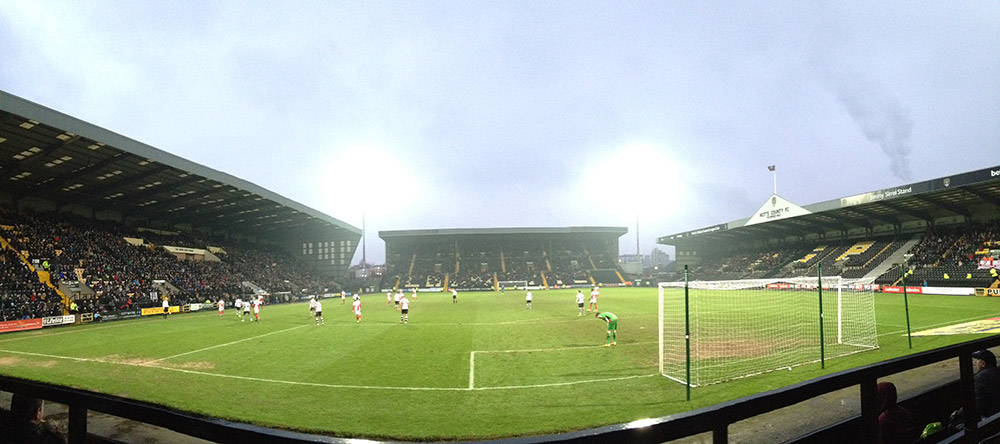 Panoramic photo of Meadow Lane during the game between Notts County and Cheltenham town in league 2