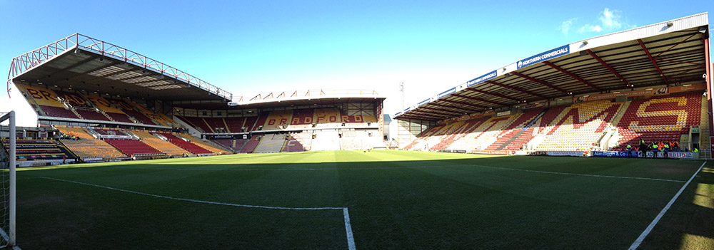 Panoramic photo of Valley Parade, Bradford City's stadium