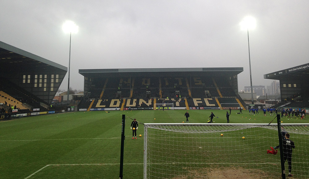 Looking towards the Kop Stand at Meadow Lane, Nottingham