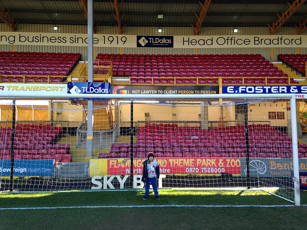 Goal mouth photo at Valley Parade