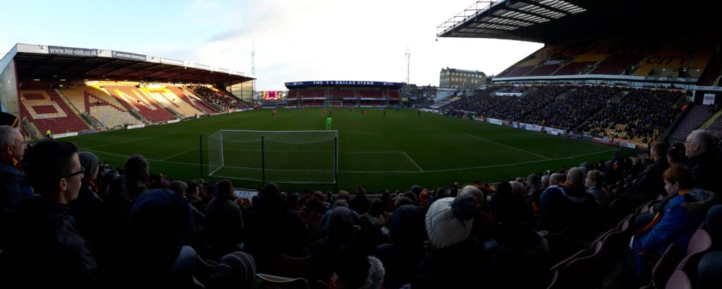 A panorama from the Kop end, with the Midland Road Stand, the Bradford End, Main Stand and a smidgen of the North West Corner.