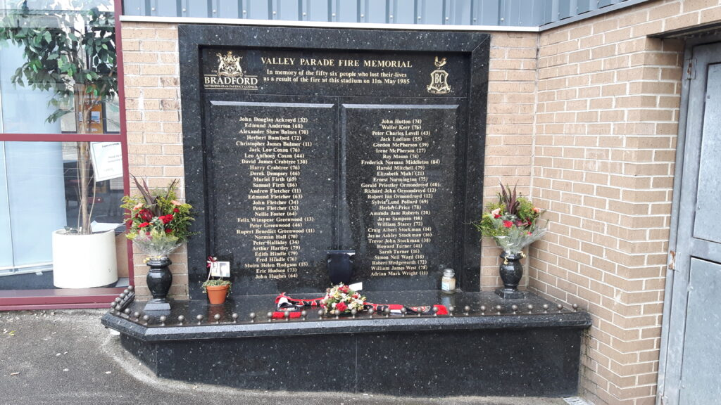 The Valley Parade Fire Disaster Memorial.