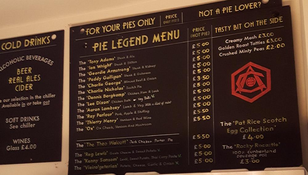 The Pie Legend Menu at Piebury Corner
