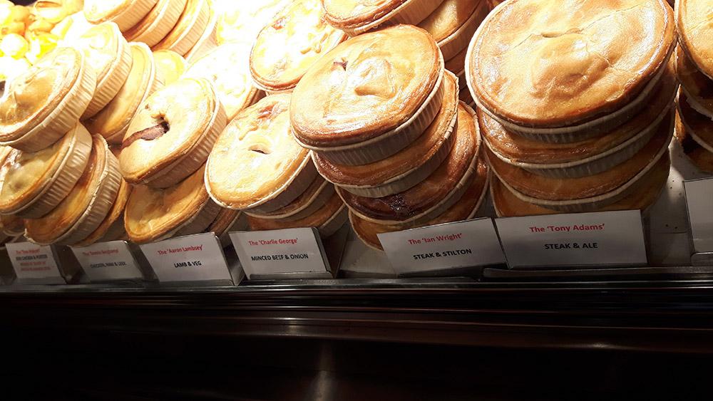 Pies at Piebury Corner on Holloway Road, London