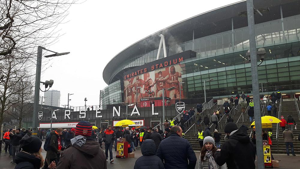 Outside the Emirates Stadium, Arsenal