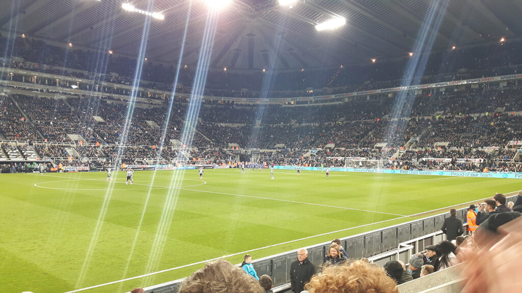 Newcastle's St James' Park under the floodlights