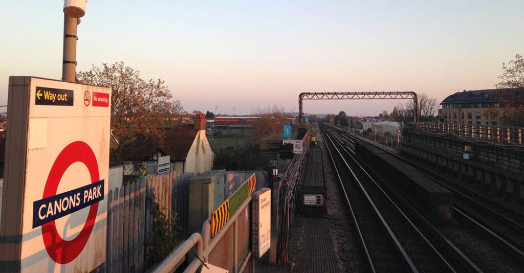 The Hive (left of centre) and the Wembley arch (centre) just about visible from Canons Park platform.