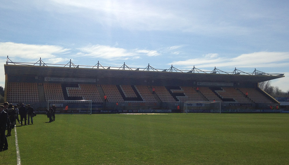 Away end at the Abbey Stadium, Cambridge United