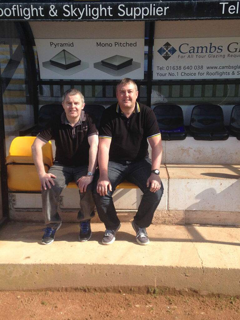 In the dugout at the Abbey Stadium