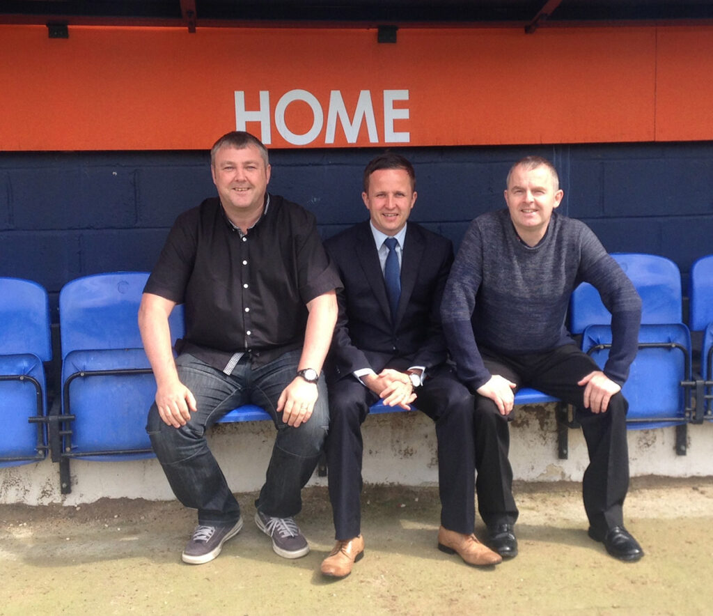 In the dugout at Kenilworth Road