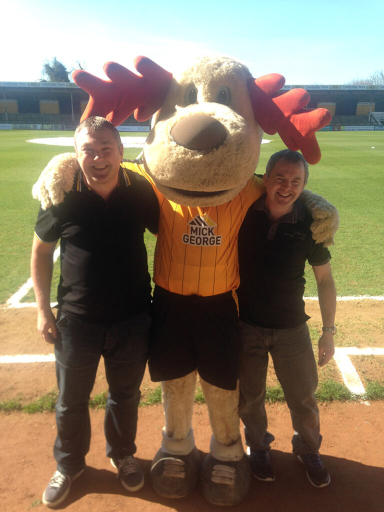 With the Cambridge United mascot 'Marvin the Moose'