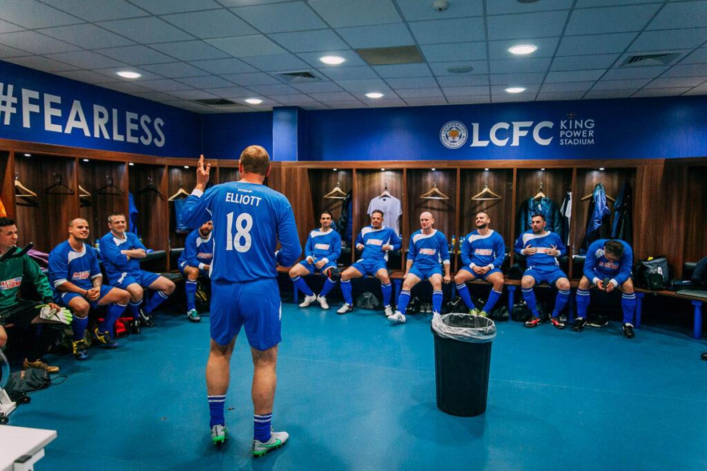 Matt Elliott talks tactics in the dressing room at the King Power Stadium