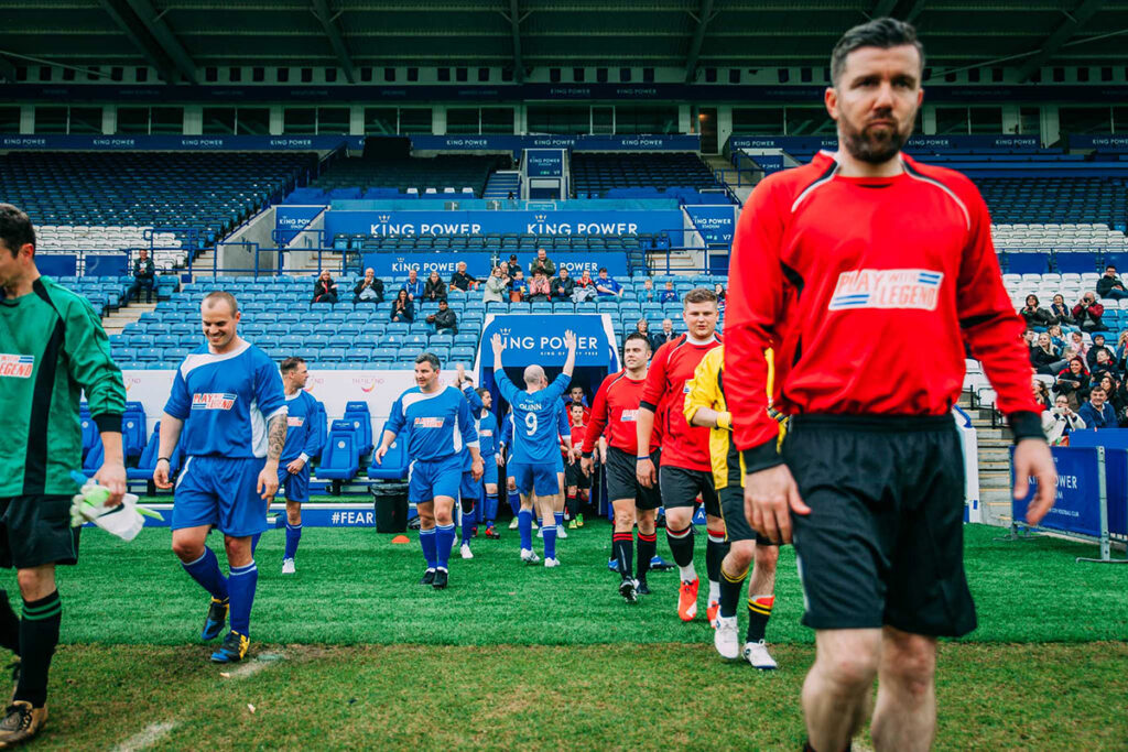Coming out of the tunnel at the King Power Stadium at the 'Play with a Legend' stadium event