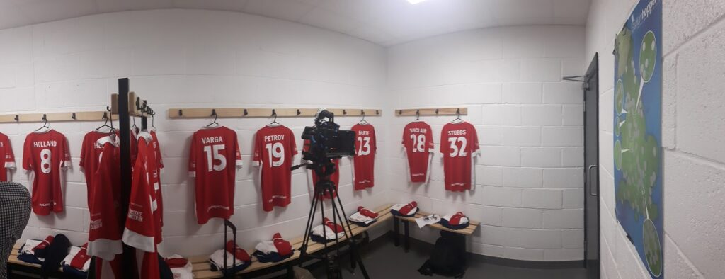 In the dressing room pre-match non league challenge