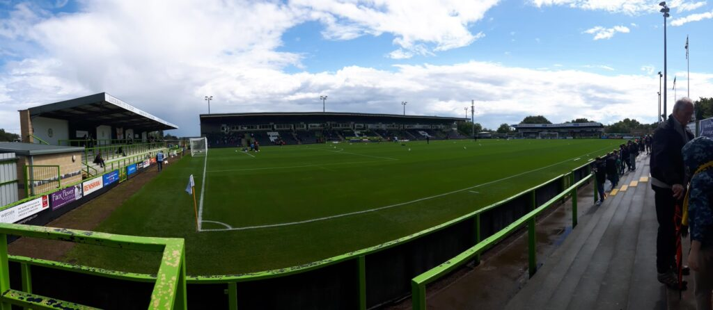Panoramic photo of the new lawn forest green